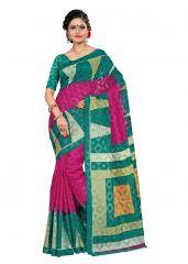 Kotton Mantra Multicolor Jute Cotton Printed Designer Saree With Unstitched Blouse Piece (KMSC31015)