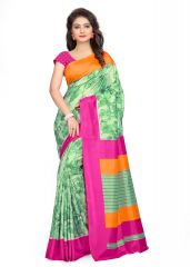 Kotton Mantra Green Silk Printed Designer Saree With Unstitched Blouse Piece (KMSILK09)