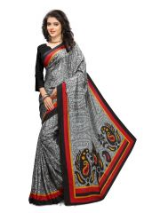 Kotton Mantra Grey Silk Printed Designer Saree With Blouse Piece (KMSILK23)