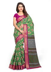 Cotton Sarees - Kotton Mantra Green Cotton With Designer Jari Border Printed Designer Saree With Unstitched Blouse Piece (KMSK1020)