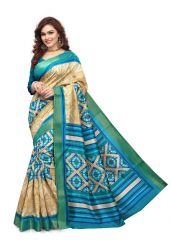 Kotton Mantra Blue Cotton Printed Designer Saree With Blouse Piece (KMSMT7001A)
