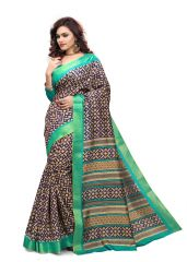 Kotton Mantra Blue Cotton Printed Designer Saree With Blouse Piece (KMSMT7002A)