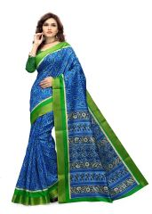 Kotton Mantra Blue Cotton Printed Designer Saree With Blouse Piece (KMSMT7008B)