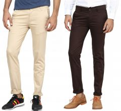 Trousers (Men's) - INSPIRE BEIGE & BROWN STRETCH CHINOS PACK OF 2