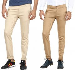 INSPIRE BEIGE & KHAKI STRETCH CHINOS PACK OF 2