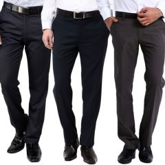 Trousers (Men's) - GWALIOR PACK OF 3 STITCHED MULTI COLOR FORMAL TROUSERS
