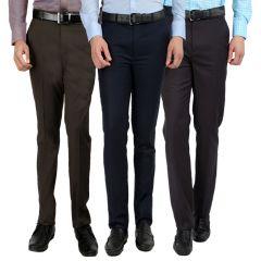 Gwalior Men's Formal Trouser Pack Of 3 Blue, Brown, Dark Grey