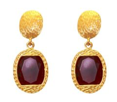 LA TRENDZ  FASHION NEW CLASSIC RUBY STONE EARRINGS(LT2083)