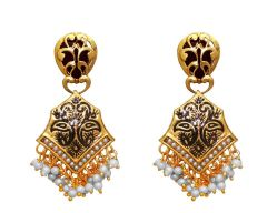LA TRENDZ  FASHION NEW BLACK ENAMEL RUBY STONE CLASSIC EARRINGS(LT953M)