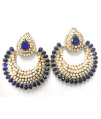 La Trendz Designer Royal Blue Crecent Earring(LT1002)