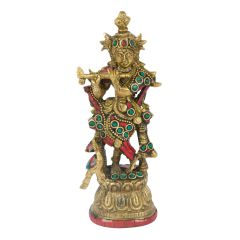 Handicrafts - Lord Krishna with Flute Brass Statue with Stone Work