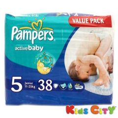 Pampers Active Baby Diapers (Size 5) - Junior - 38 (11-25Kg) (Imported)