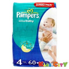 Pampers Active Baby Diapers (Size 4) - Large - 60 (7-18Kg) (Imported)