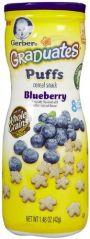 Cheese Balls, Curls - Gerber Graduates Puffs Blueberry Cereal Snacks