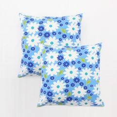 Blueberry Home Blue Color Cotton Fabric Cushion Covers Set Of 02 (40X40 Cms)
