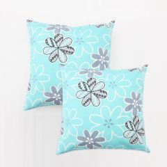 Blueberry Home Light Blue Color Cotton Fabric Cushion Covers Set Of 02 (40X40 Cms)