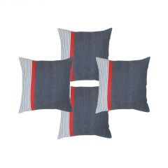 Blueberry Home Cotton Fabric Dark Blue Color Cushion Covers Set Of 4 (40X40 Cms)