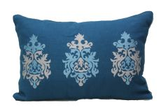 Blueberry Home Silk fabric Blue color Pillow cover (50X30 cms)
