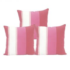 Blueberry Home Striped Pattern Pink Color Cotton Fabric Cushion Cover Set Of 3 (40X40 Cms)