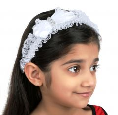 TARA WHITE BOW LACE HAIR BAND