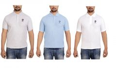 SPHINX Men's Rich Cotton Polo T shirt - Pack of 3 (White, Grey & Sky Blue)