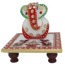 Lord Ganesha With Marble Chowki For Festival Gift Item