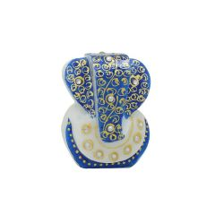 Marvellous Marble Ganesha Idol (Meenakari and Kundan Work) in Blue Color puja articles Handicrafts Decorative Festival Gift Item