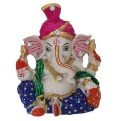 Marvellous Marble Pink Pagdi Lord Ganesha Idol (Meenakari and Kundan Work)Rajasthani Handicrafts Art Antique Decorative Festival Gift Item