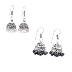 Frabjous Combo of Silver and Black Fusion Jhumki Earring (Product Code - FBERCMB-06)