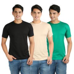 T Shirts (Men's) - Vouteil Solid Men's Round Neck Multicolor T-Shirt Pack of 3 - VTTS-020506