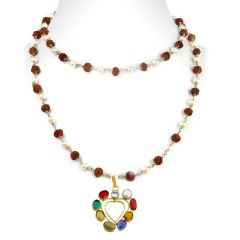 NirvanaGems Heart Shape Navratna Necklace With Pearl And Rudraksha Beads-NVG-026RF