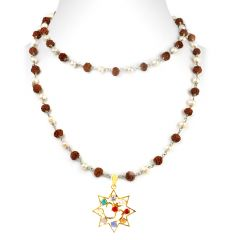 NirvanaGems Designer Navratna Necklace With Pearl And Rudraksha Beads Chain-NVG-028RF