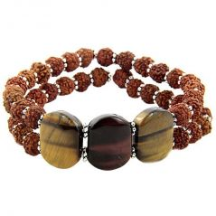 Tiger Eye And Rudraksha Silk Dori Bracelet