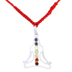 Designer 7 Chakra Yogi Meditation Silver Pendant With Red Thread