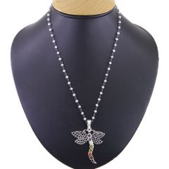 NIrvanaGems 42.55 Beautifull Butterfly Design 7 Chakra Gemstone Silver Pendant with Chain