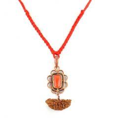 Spiritual Pendants - Nirvana Gems Coral Pendant  With Ek Mukhi Rudraksh - (YSP-30B-PNDT)