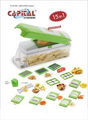 Aatish Capital 15 in 1 Vegetable & Fruit peeler grater slicer cooking Chopper tool with Safety Holder (Product Code - AMKTCK351)