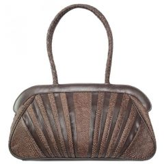 Chanter Snake Design Genuine Leather Brown Handbag - BB623
