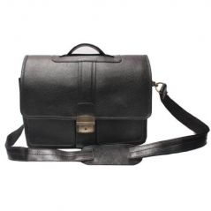 "Chanter Texture Design Genuine Leather Black 12"" Laptop Bag - Ea116"