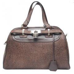 Chanter Snake Design Genuine Leather Brown Handbag - BB608