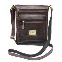 Chanter Texture Design Genuine Leather  Brown Sling Cross Bag - RA733