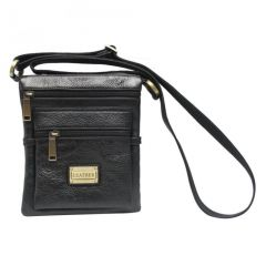 Chanter Texture Design Genuine Leather  Black Sling Cross Bag - RA734