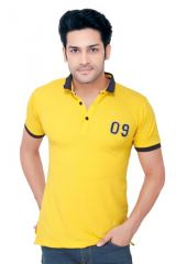 "GoPlay Cotton Knitted Yellow Men""s Polo T-Shirt-(Code-GP1009FS)"