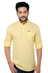 GoPlay Linen Yellow Short Kurta For Men - (Code-GP16702GS)