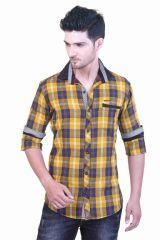 "Goplay Cotton Blend Yellow Men""s Casual Shirt-(Code-GP18122AS)"