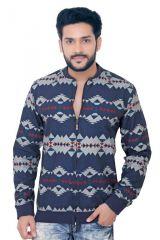 """GoPlay Dark Blue Brushed Cotton Men""""s Jacket-(Code-GP18340AS)"""
