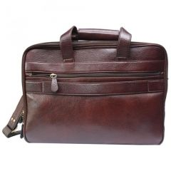 "Chanter Texture Design Genuine Leather Brown 15"" Sling Laptop Bag - BBL678"