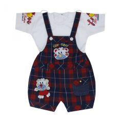 Sydney White & Multicolor Printed Cotton Unisex Dungaree For Kids (Code - SY304WHTS)