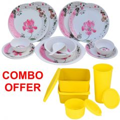Czar Combo Of Pink Melamine 16 Pcs Dinner Set With Topware Lunch Box-SET OF 4