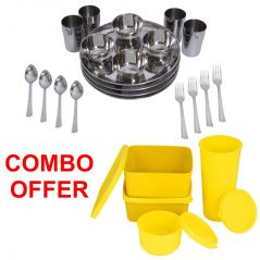 Czar Combo Of  24 Pcs Stainless Steel Economy Dinner Set With Topware Lunch Box-SET OF 4